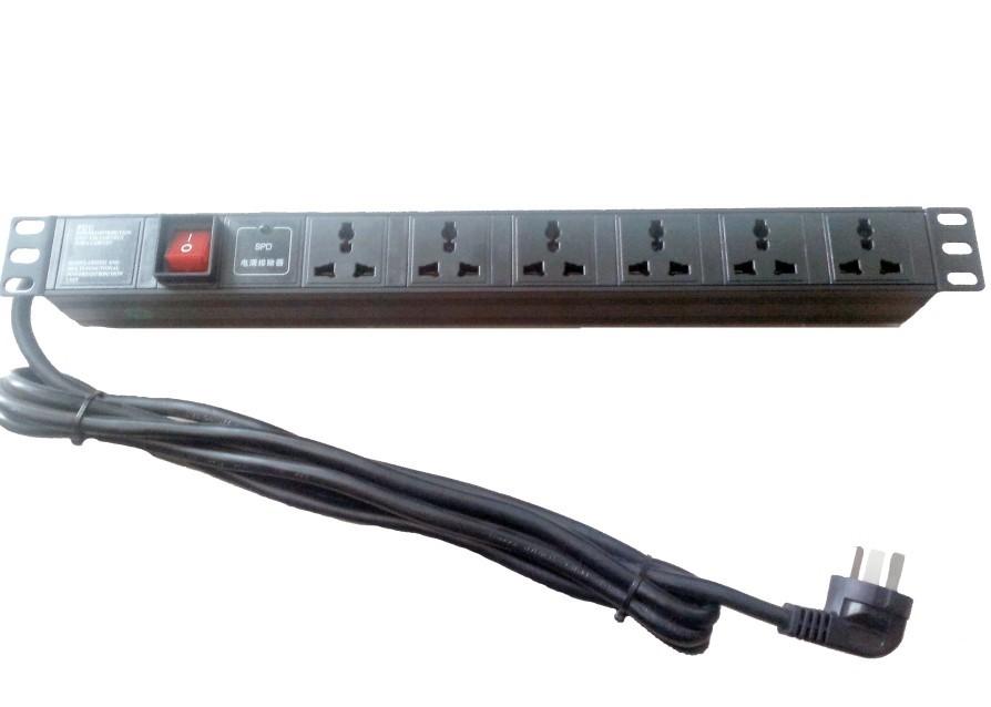 6位10A机柜式PDU防雷插座--AM10P-6/10A